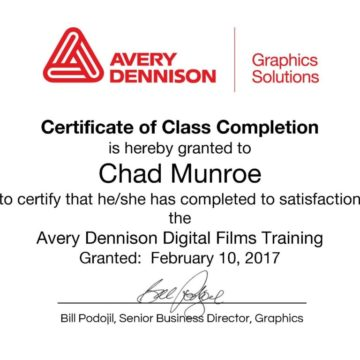 Chad Munroe Completes Avery Dennison Digital Films Training