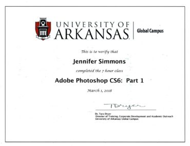 Jennifer Rennicke completes University Of Arkansas training in Adobe Photoshop CS6