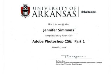 Jennifer Rennicke completes University Of Arkansas training in Adobe Photoshop CS6