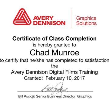Chad Munroe Completes Avery Dennison Digital Films Training