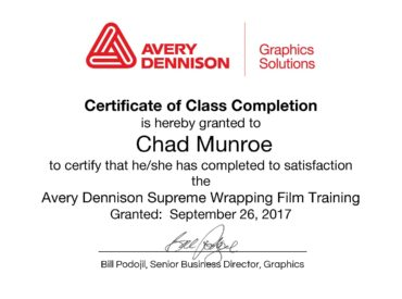 Chad Munroe completes Avery Dennison Supreme Wrapping Film Training, and gains Avery CWI Certification.